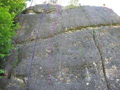 Rock Climbing Photo: Red: Linker Weg; Blue: Schnapszahl; Pink: Platzman...