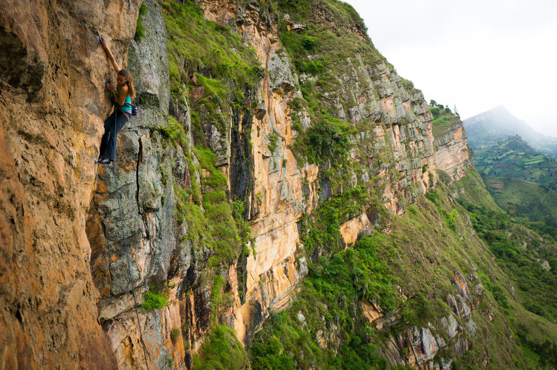 Rock Climbing Photo: Agustina Lallana on a new 12+ arete in Macheta