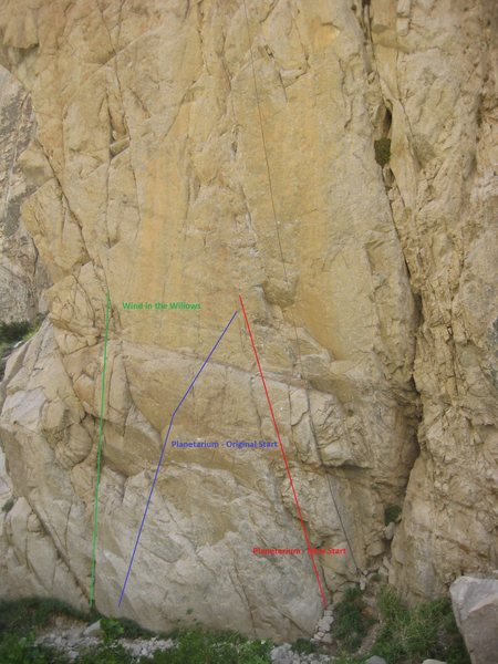 New Direct start to Planetarium. 11c-ish. A more direct and less sporty start. Hopefully the route will get done more since it is a stellar route!