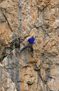"Rock Climbing Photo: Passing the ""X"" crack on Hang 'Em High (..."