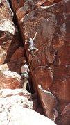 Rock Climbing Photo: Jeremy using his ape index--cheater!