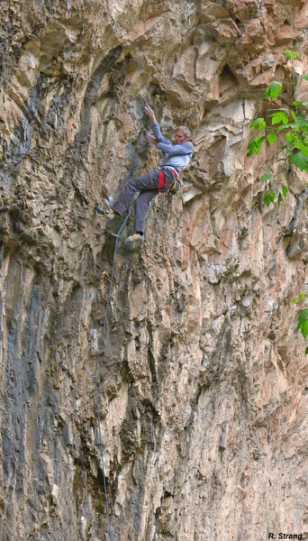 Rock Climbing Photo: Ed Strang cranking! Living in Fear (5.13d).