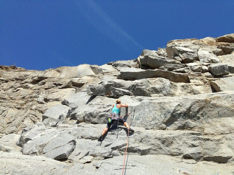 Rock Climbing Photo: Lindsey, getting the first bolt.