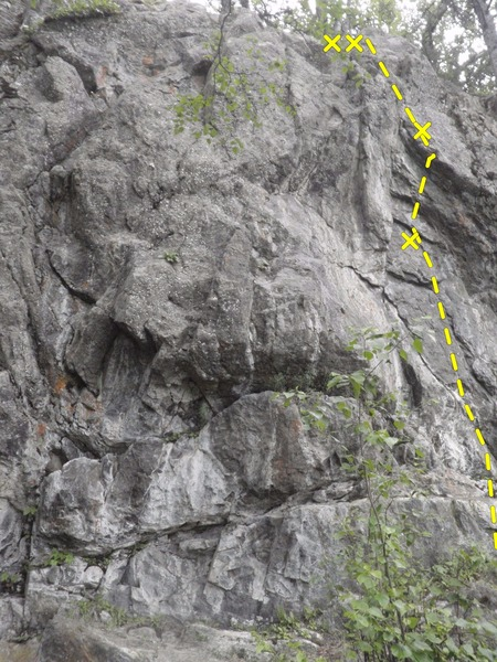 Naught For All climbs the two bolt route on the right side of the pic