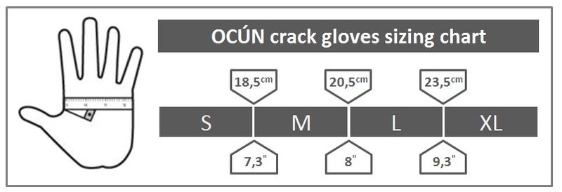 ocun crack glove sizing