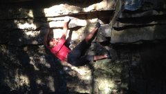 Rock Climbing Photo: Getting up into the crux with the toe hook.