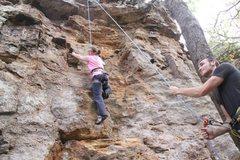 Rock Climbing Photo: Beryl TRing the Sadnstoen roof