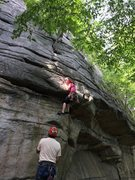 Rock Climbing Photo: Gail discovers a shorty variation left of the notc...