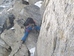 Rock Climbing Photo: Andres Marin beginning the first technical pitch.