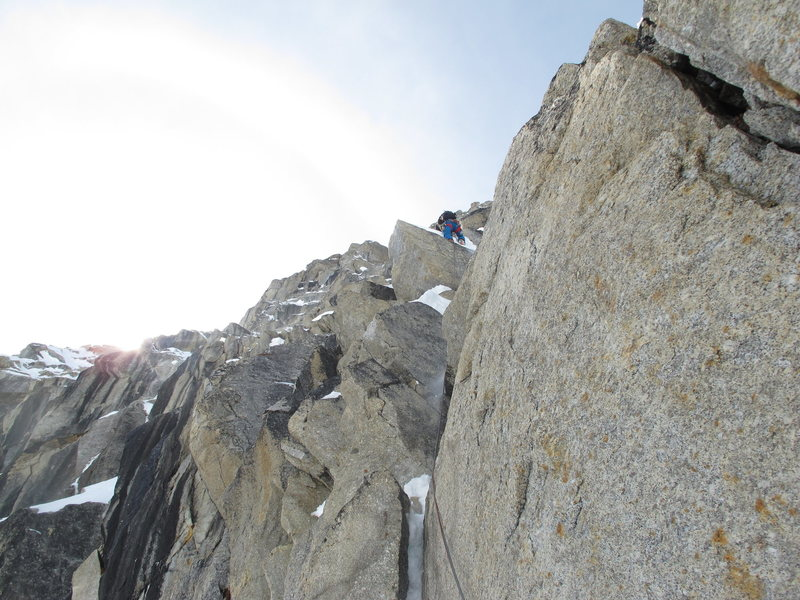 Andres Marin high on the first crux pitch.