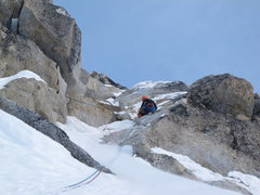 Rock Climbing Photo: Andres Marin high on the route on moderate mixed t...