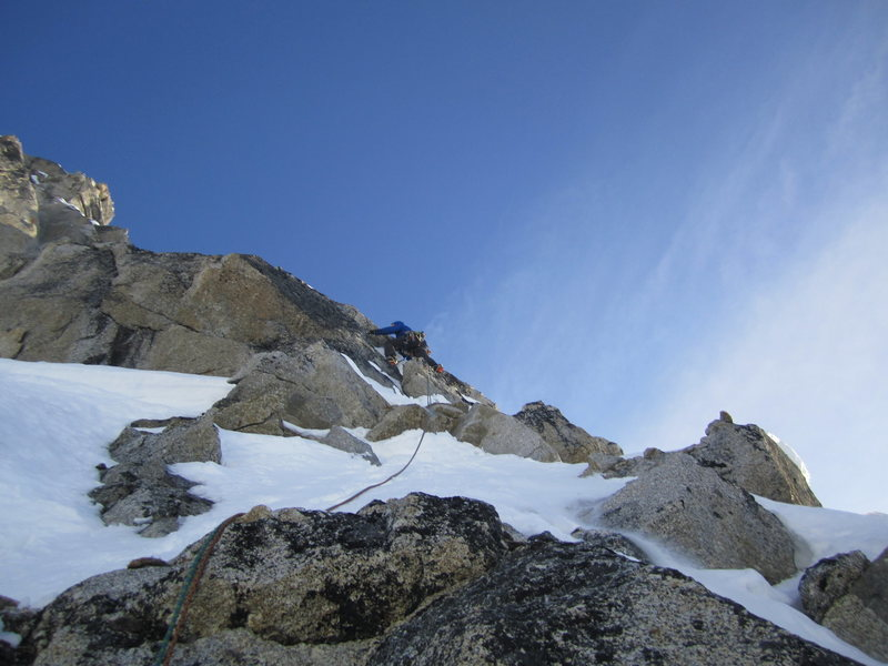 Clint Helander several hundred feet below the summit on the runout slab pitch.