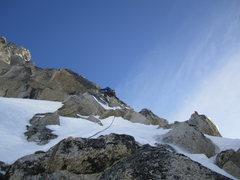 Rock Climbing Photo: Clint Helander several hundred feet below the summ...