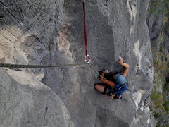 Rock Climbing Photo: Amy Vevoda on the third pitch of Time Loves a Hero