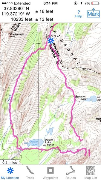 We approached from Echo Creek which was mellow but much longer.  We returned by heading toward Reymann Lake meadow and then gaining the ridge before heading down to Elizabeth Lake