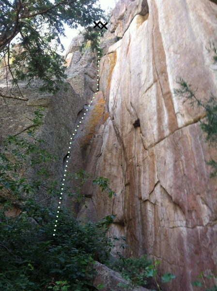 Rock Climbing Photo: The Crypt (wide crack left of corner) and Cryonics...