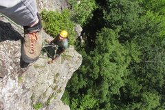 Rock Climbing Photo: my foot and jay on the 3rd pitch