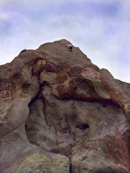 Rock Climbing Photo: The lowest bolt shown in the white rock - lower le...