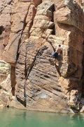 Rock Climbing Photo: Adam (me) pulling back on the large Layback.