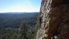 Rock Climbing Photo: top roped to clean, enjoy the really cool view!