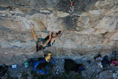 Rock Climbing Photo: Page working through the crux of a 5.12c on the st...