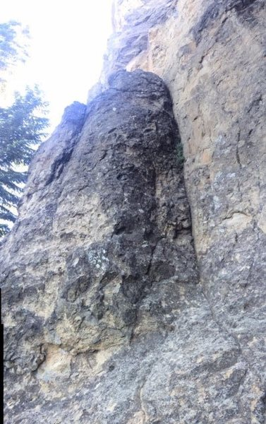 5.8, up the arete of the buttress