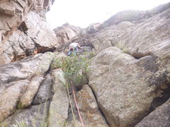 Rock Climbing Photo: Start of P2. Stay left when passing the roof to ma...