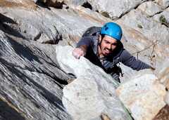 Rock Climbing Photo: Pulling the crux P1 flake (Eric Isaac climbing).
