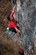 Rock Climbing Photo: Setting up for a throw low on the route. May 2014....