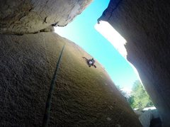Rock Climbing Photo: Projecting The Lost Slab 5.12+!!! Photo by C. Norw...