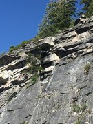 Rock Climbing Photo: Good look at the tree and steep top section of rou...