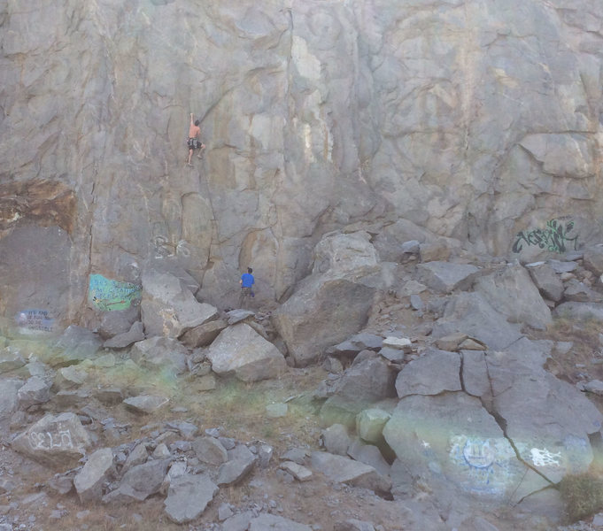 Use graffiti to locate start of climb.  This is approaching the crux (go left!)