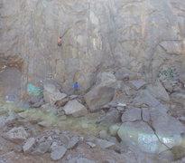Rock Climbing Photo: Use graffiti to locate start of climb.  This is ap...