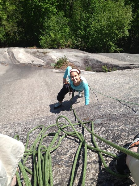 Laura Halupowski nearing P.1 belay on Dark Horse