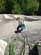 Rock Climbing Photo: L. Halupowski nearing P.1 belay on Dark Horse