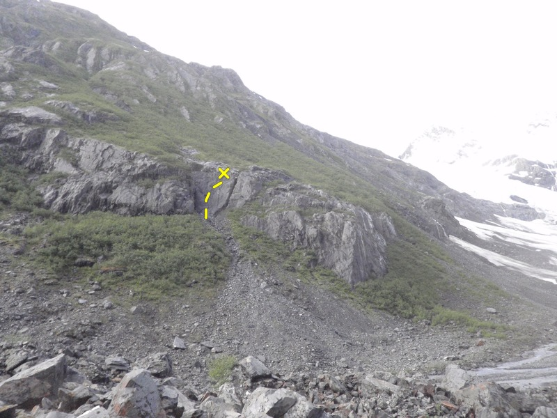Slurm climbs the slab face at the top of the scree approach.<br>