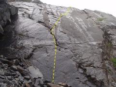 Rock Climbing Photo: Slurm climbs the slab face, trending right an the ...