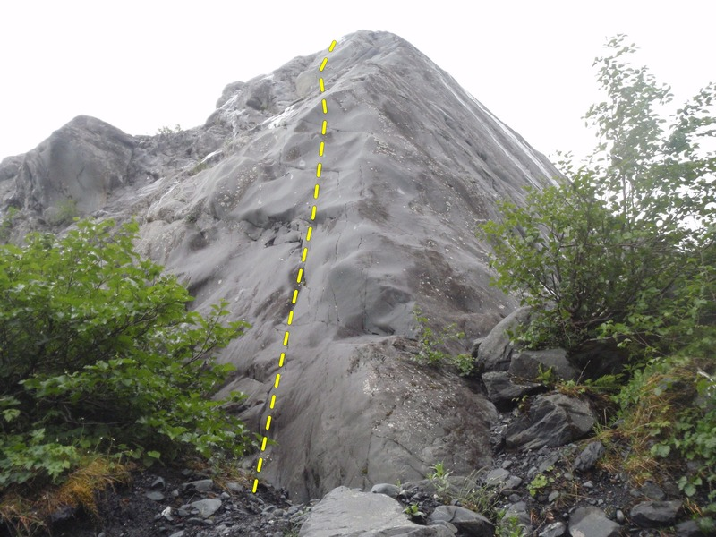 Rock Climbing Photo: Crisco Kid starts on the arete before moving out o...