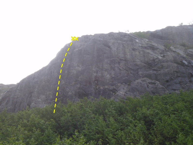Rock Climbing Photo: Spotted Dick climbs up a tall section of wall with...