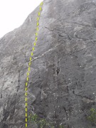 Rock Climbing Photo: Follow the yellow spotted line on Spotted Dick.