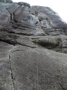 Rock Climbing Photo: JessT linking P1 and 2, Chewbacca.