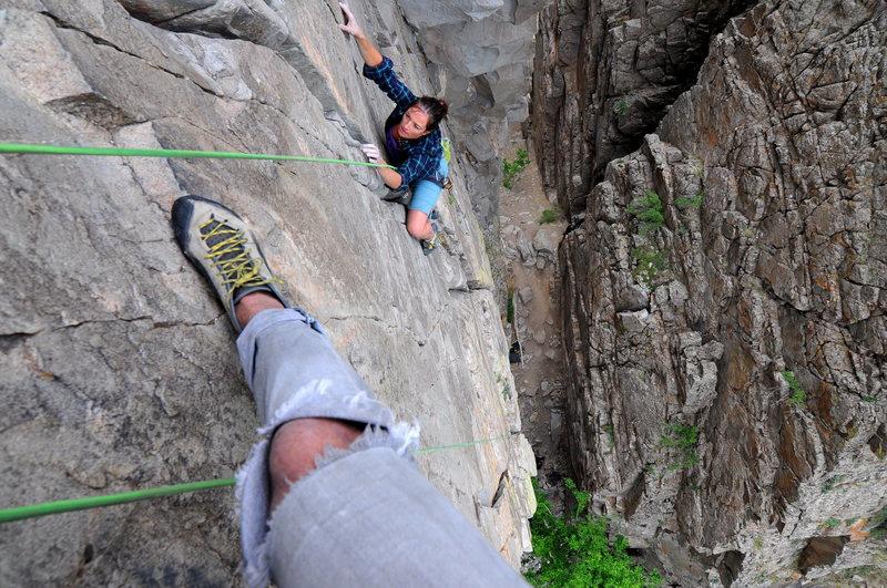 Rock Climbing Photo: Abbe following Jenga Buttress in the Notch.