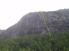 Rock Climbing Photo: Climb to the top of the cliff up the dotted line.