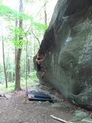 """Rock Climbing Photo: repeating the moves after the FA of """"High Jum..."""