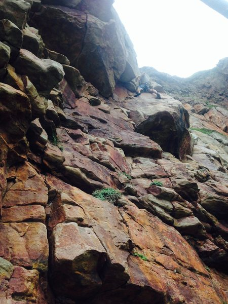 Rock Climbing Photo: Rob on his way up...