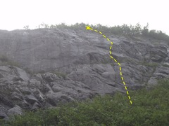 Rock Climbing Photo: Just One More is the right of two climbs located o...