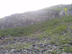 Rock Climbing Photo: The right most face climb at the Byron Glacier Wal...