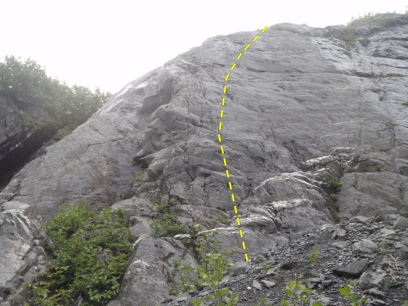Rock Climbing Photo: Follow the bolt line up face climbing to a runnout...