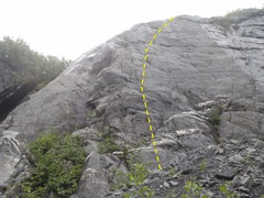 Rock Climbing Photo: Follow the bolt line up face climbing to a runnout...