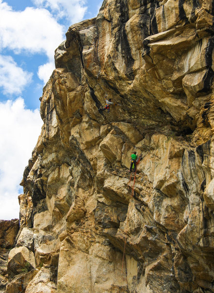 Alvaro Arnal setting off into the difficulties on the 2nd pitch of Tarzan.  Colter Beereboom belaying.<br> <br> Photo: Zac Blomquist.